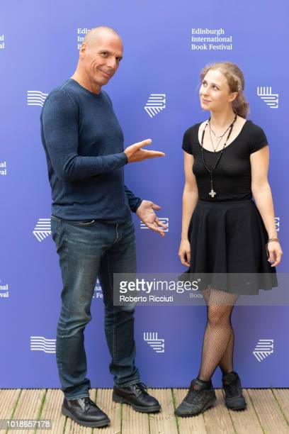 Greek economist academic and politician Yanis Varoufakis and Russian political activist and performer Maria Alyokhina of Pussy Riot attend a...
