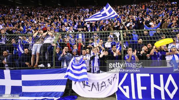 Greek fans show their support during the FIFA 2018 World Cup Group H Qualifier match between Belgium and Greece at Stade Roi Baudouis on March 25...