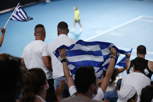 Greek fans show their support in the Men's Singles Semifinals match between Daniil Medvedev of Russia and Stefanos Tsitsipas of Greece during day 12...