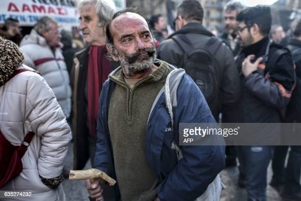 A Greek farmer takes part in a protest against new tax hikes and pension reforms that are part of Greece's austerity programme during an...