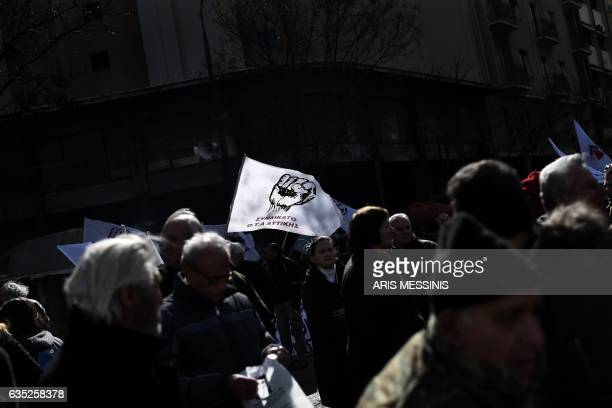 TOPSHOT Greek farmers protest in central Athens against the new taxation measures during an antiausterity demonstration on February 14 2017 Greece's...