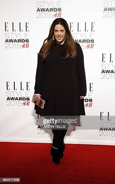 Greek fashion designer Mary Katrantzou poses for photographers on the red carpet to attend the ELLE Style Awards 2015 in London on February 24 2015...