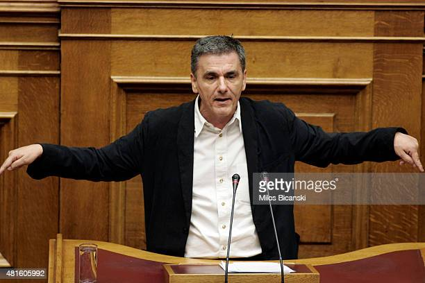 Greek Finance Minister Euclid Tsakalotos addresses lawmakers during a parliamentary session on July 22 2015 in Athens Greece Greece's leftist...