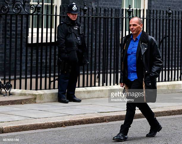 Greek Finance Minister Yanis Varoufakis arrives for a meeting with British Finance Minister George Osborne outside number 11 Downing Street in...