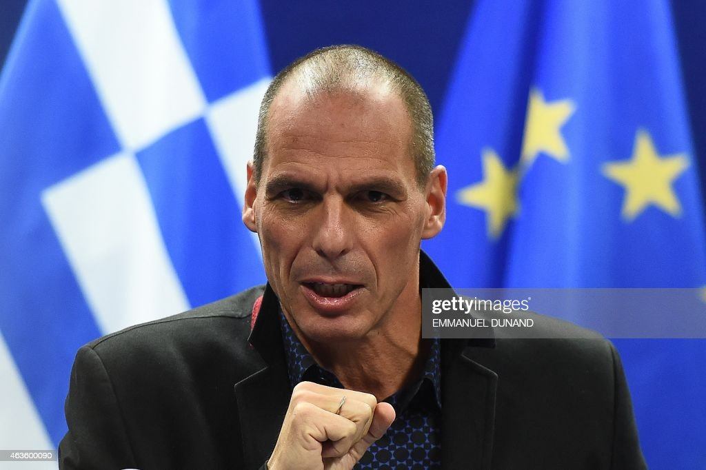 Greek Finance Minister Yanis Varoufakis gives a press conference on February 16, 2015 at the end of an Eurogroup finance ministers meeting at the European Council in Brussels. Eurozone ministers handed Greece an ultimatum to request an extension to its hated bailout program on February 16 after crunch talks collapsed, deepening a bitter stand-off that risks seeing Athens tumble out of the eurozone. Eurogroup head Jeroen Dijsselbloem said Greece had the rest of the week to request an extension to the programme, which expires at the end of the month, challenging Athens to cave on a dearly held position.