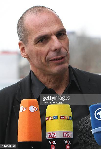 Greek Finance Minister Yanis Varoufakis gives a statement as he leaves the European Central Bank in Frankfurt am Main western Germany on February 4...