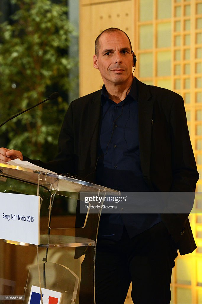 Greek Finance Minister Yanis Varoufakis speaks during at a press conference with his French counterpart Michel Sapin following their meeting at the French Finance Ministry on February 1, 2015 in Paris, France. Yanis Varoufakis is on a two-days visit to Paris to launch the Greek new anti-austerity government's search for EU allies.