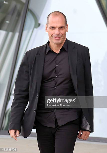 Greek Finance Minister Yanis Varoufakis speaks to journalists after a meeting with the President of the European Central Bank Mario Draghi on...