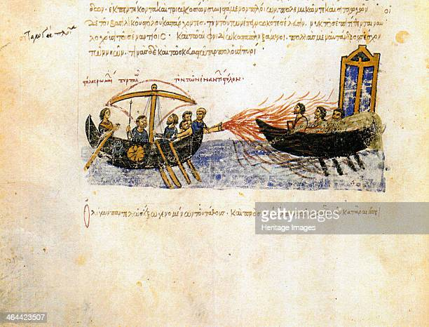Greek fire Miniature from the Madrid Skylitzes 11th12th century Found in the collection of the Biblioteca Nacional Madrid