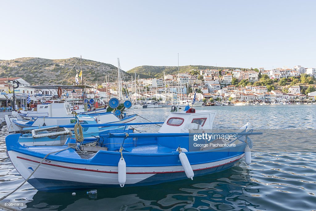 Greek fishing boat on the port of Pythagoreion : Stock Photo