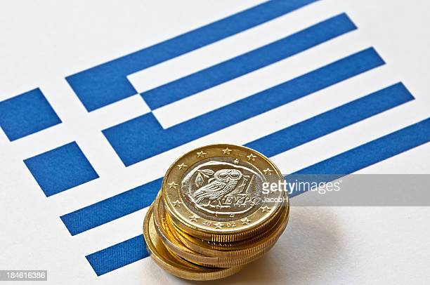Bandera griega y Euros