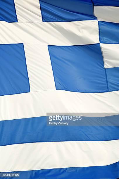 Greek Flag Full Frame Vertical Close-Up