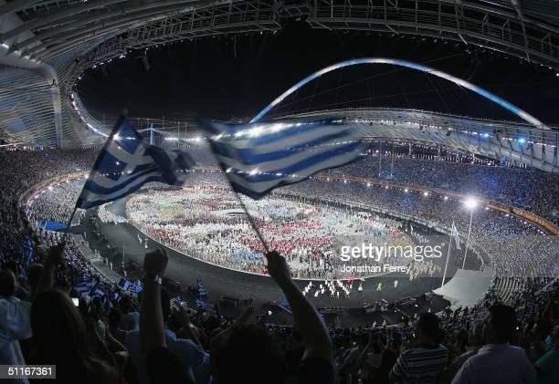 Greek flag is seen during the opening ceremony of the Athens 2004 Summer Olympic Games on August 13, 2004 at the Sports Complex Olympic Stadium in...