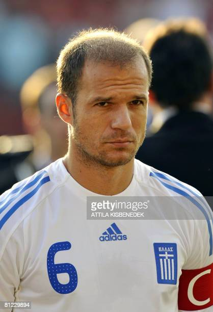 Greek football team captain Angelis Basinas is pictured at Puskas Stadium in Budapest on May 24 2008 prior to an Euro 2008 warmup friendly match...