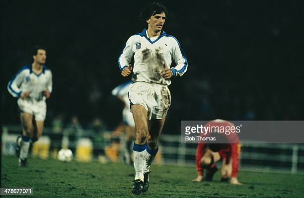 Greek footballer Nikos Anastopoulos playing for his national side in a World Cup qualifying match against Belgium at Heysel Stadium Brussels 27th...