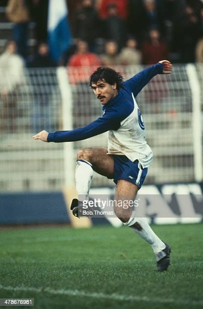 Greek footballer Nikos Anastopoulos playing for his national side circa 1983