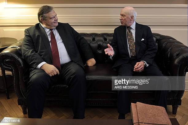 Greek Foreign Minister Evangelos Venizelos speaks with Matthew Nimitz United Nations special envoy to the Former Yugoslav Republic of Macedonia in...