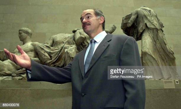 Greek Foreign Minister George Papendreou in the British Museum where he expressed hope that a more positive dialogue could begin with the British...