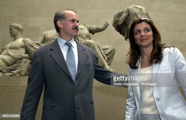 Greek Foreign Minister George Papendreou with his wife Andain the British Museum where he expressed hope that a more positive dialogue could begin...