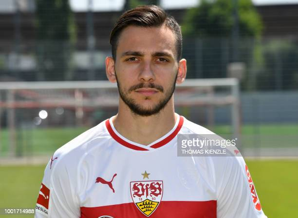 Greek forward Anastasios Donis of German first division Bundesliga football team VfB Stuttgart poses for a family picture during the team's official...