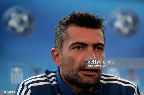Greek goalkeeper Kostas Chalkias speaks during a press conference at the Municipal stadium of Legionowo on June 4 2012 ahead of the Euro 2012 footbal...