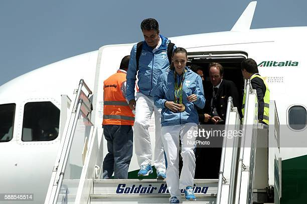 Greek gold medalist at the Rio 2016 Olympics Anna Korakaki with her father and personal coachTasos Korakakis leave the airplane upon their arrival at...