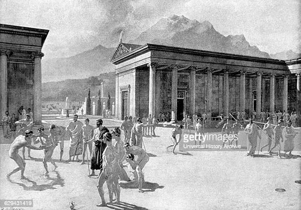 Greek Gymnasium at the Time of the First Olympic Games Engraving 776 BC
