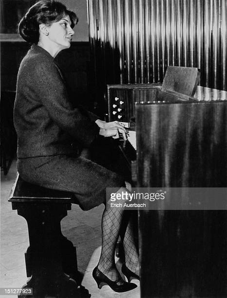 Greek harpsichordist Lina Lalandi plays a Mander portable organ at St Giles' Cripplegate 2nd April 1964 Lalandi dounded the English Bach Festival