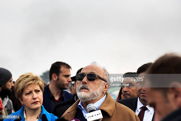 Greek Interior Minister Panagiotis Kouroumplis visits the Idomeni refugee camp at the Greek Macedonia border on March 18 2016 in Idomeni Greece Many...