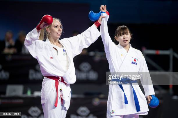 Greek karateka Eleni Chatziliadou and Japanese karateka Ayumi Uekusa are seen in action as they competes for the Kumite female 68kg final competition...