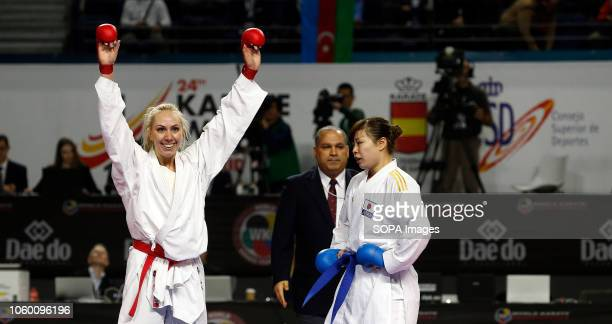 Greek karateka Eleni Chatziliadou seen celebrating after defeating the Japanese karateka Ayumi Uekusa during the Kumite female 68kg final competition...