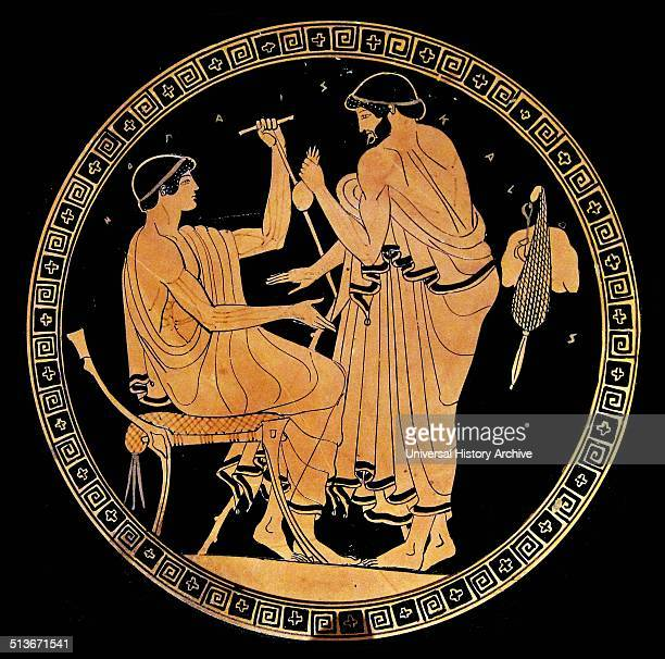 Greek kylix or dish depicting a man paying a male prostitute Circa 5th century BC