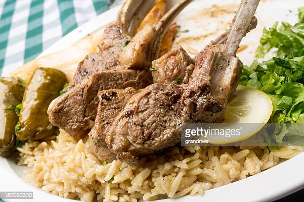 Greek Lamb Chops with Dolmades, Salad and Tiropita
