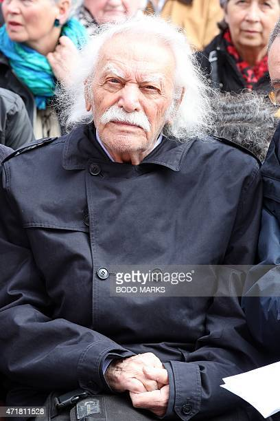 Greek left wing politician Manolis Glezos attends a May Day rally of the German Trade Union Federation on Labour Day May 1 in Hamburg northern...