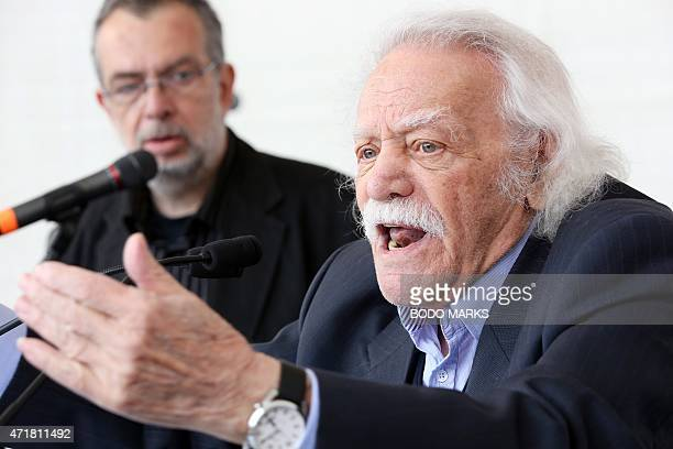 Greek left wing politician Manolis Glezos speaks during a May Day rally of the German Trade Union Federation on Labour Day May 1 in Hamburg northern...