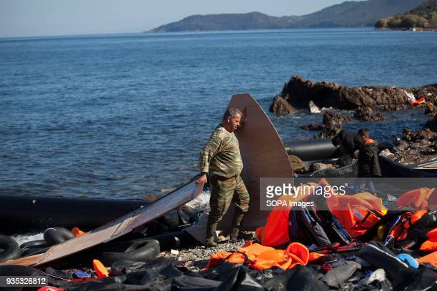 Greek man salvages materials left behind by the arrival of hundreds of asylumseekers In 2015 more than a million immigrants arrived in Europe by sea...