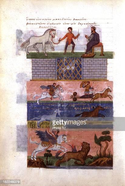 Greek manuscript history of Alexander the Great by Greek poet Oppien Alexander the Great and his horse Bucephalas pursuing Darius 15th century Paris...