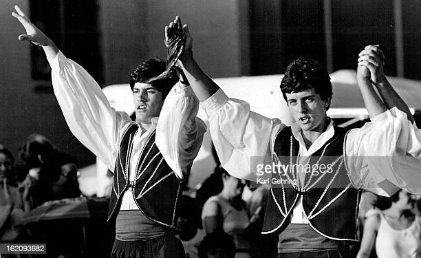JUN 29 1984 JUN 30 1984 Greek Market Place John Anadiotis left and Lambros Giannoutsos were 2 members of a dance group called Ta Asteria which...