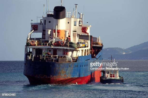 Greek Merchant ship leaving Corinth Greece