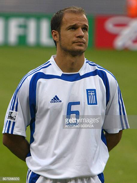 Greek midfielder Angelos Basinas poses prior to the 2005 FIFA football Confederations Cup match against Greece at Zentralstadion in Leipzig 16 June...