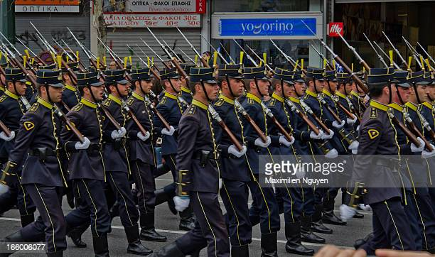 CONTENT] Greek military troops held a parade in Athens to celebrate the start of independence war on 25th March 1821 The parade started from Syntagma...