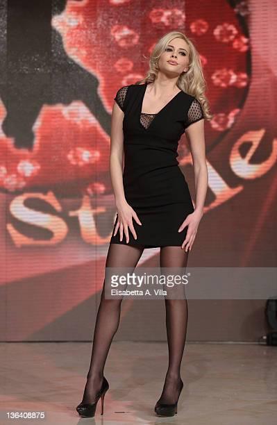 Greek model Ria Antoniu attends 'Ballando Con Le Stelle' press conference photocall at Auditorium Rai on January 4 2012 in Rome Italy