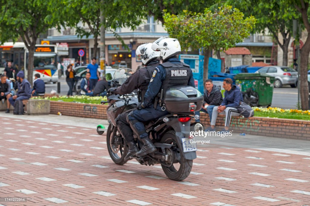 Greek motorcycle police officers : Stock Photo