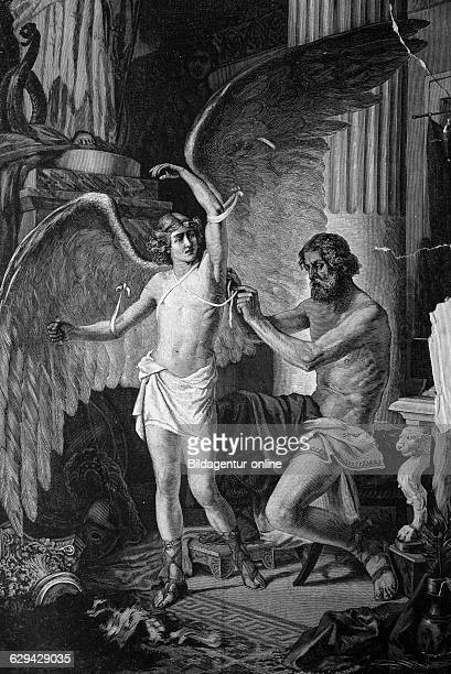 Greek mythology daedalus equipping his son icarus with wings historical illlustration about 1886
