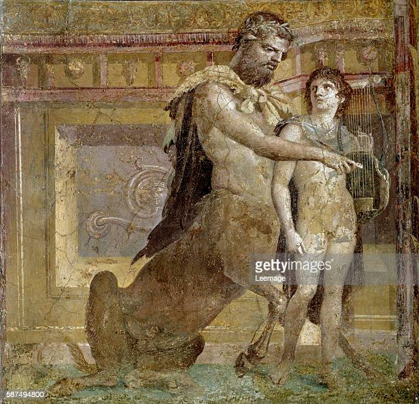 the centaur Chiron and Achilles child or the Education of Achilles by Chiron Fresco from the Herculaneum Basilica Roman Art National Archaeological...