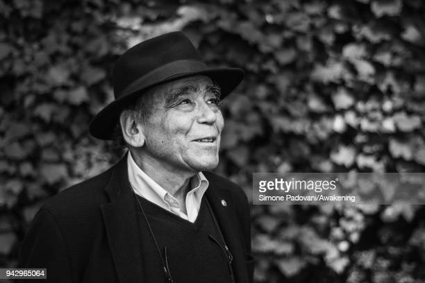 Greek narrator novelist screenwriter and translator Thanasis Valtinòs attends a photocall during Incroci di Civiltà International Literature Festival...