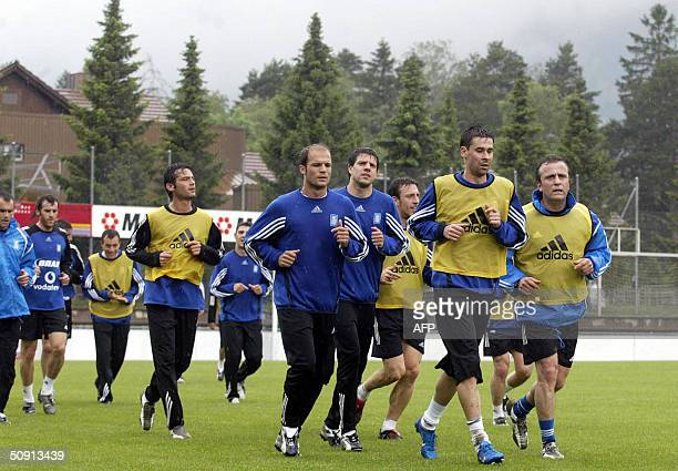 Greek national football team is seen during a preparation training session ahead of the Euro 2004 in Bad Ragaz Switzerland 31 May 2004 The Greek team...