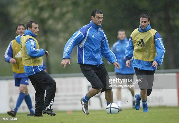 Greek national team is seen during a preparation training session ahead of the Euro 2004 in Bad Ragaz Switzerland 01 June 2004 The Greek team will...