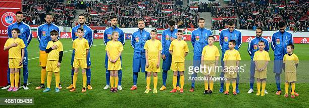 Greek national team pose before the Euro 2016 qualification soccer match between Hungary and Greece at Groupama Aréna in Budapest March 29 2015