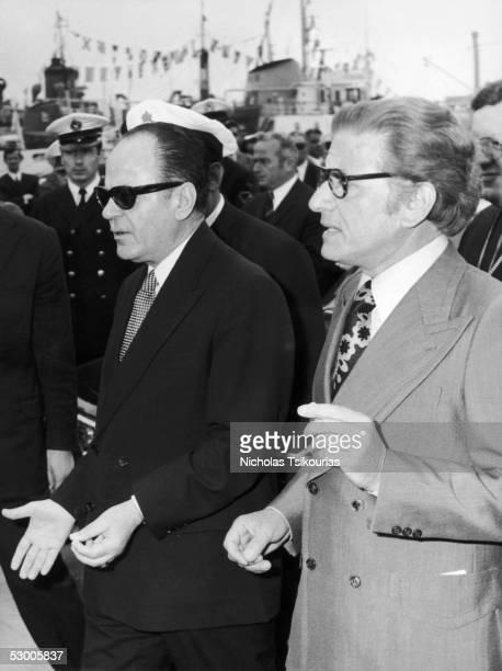Greek oil and shipping tycoon John Latsis with Greek statesman George Papadopoulos circa 1960